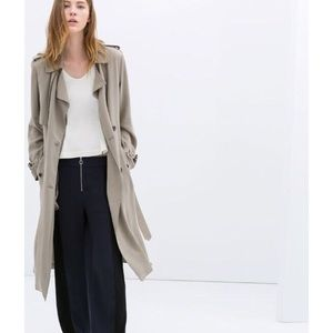 Zara taupe long flowing trench coat